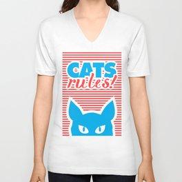 Cats Rules, cat poster, cat t-shirt, Unisex V-Neck
