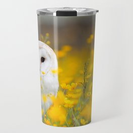 Little Owlet in Flowers (Color) Travel Mug