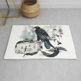 Blackwinged Birds Fly Past The Moonlit Raven's Eye Rug