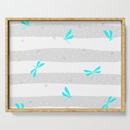 Blue Cyan Dragonfly dandelion seeds Christmas seamless pattern and Snow white Confetti on Dark Grey and White Stripes Background Serving Tray