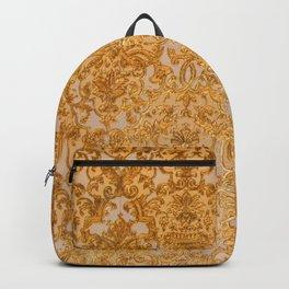 Elegant chic lux look gold grunge floral damask Backpack