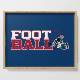 Football in Blue and Red Serving Tray
