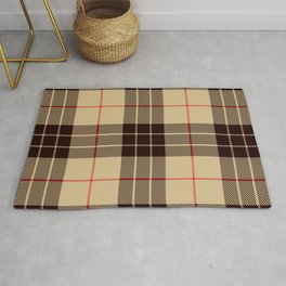 Tan Tartan with Black and Red Stripes Rug