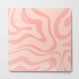 Soft Blush Pink Liquid Swirl Modern Abstract Pattern Metal Print