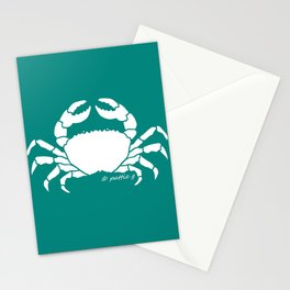 Crab Aqua Background Stationery Cards