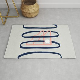 Minimal artwork with rings and stars Rug