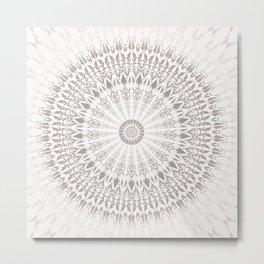 Taupe Tan Mandala Metal Print