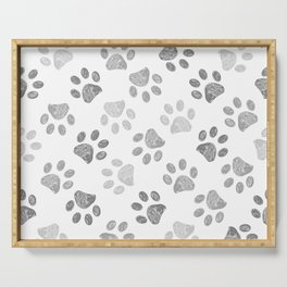Black and grey paw print pattern Serving Tray