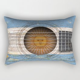 Old Vintage Acoustic Guitar with Argentine Flag Rectangular Pillow