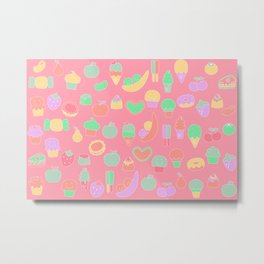 Sweet temptations, pink pastries, fruits and love Metal Print