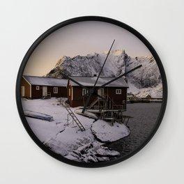 Winter Sunrise In Lofoten Wall Clock