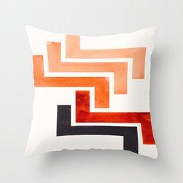 Burnt Sienna Aztec Pattern Mid-century Modern Simple Geometric Pattern Watercolor Minimalist Art Squ Throw Pillow
