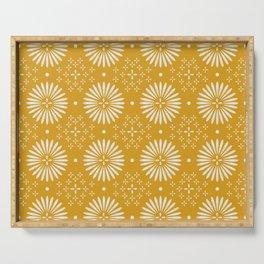 Happy Sunshine - yellow art, sunshine, boho art, bohemian, tile, home decor, yellow, yellow art print Serving Tray