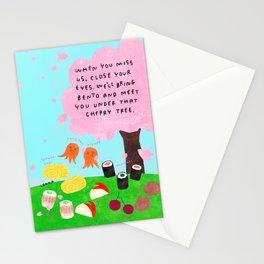Japanese Bento box kawaii illustration Under That Sakura Cherry Tree Cherry Blossoms Stationery Cards
