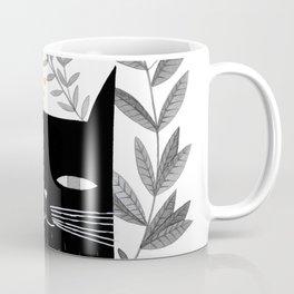 black cat with botanical illustration Coffee Mug