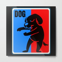 Dog Red and Blue Sports Logo Metal Print