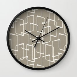 Retro Rounded Rectangles in Medium Warm Gray Wall Clock