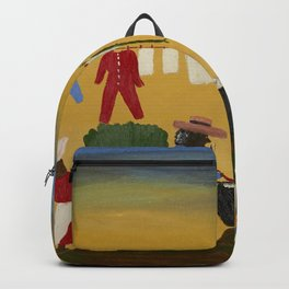 African American Masterpiece 'The Wash' portrait painting by Clementine Hunter   Backpack