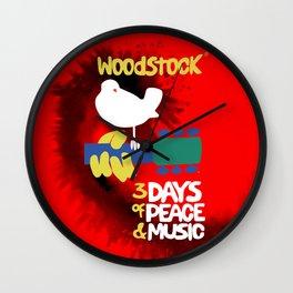 Woodstock 1969 (tie dye background) Wall Clock
