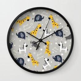 Sweet dreams little one zoo animals cute pattern grey Wall Clock