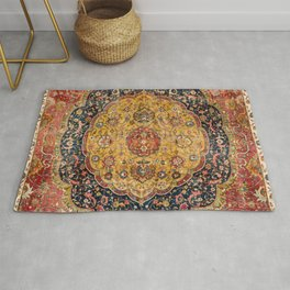 Indian Boho III // 16th Century Distressed Red Green Blue Flowery Colorful Ornate Rug Pattern Rug