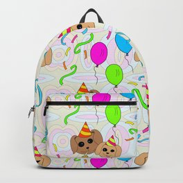 Crazy Kitsch Puppy Birthday Party Pattern Backpack