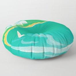 Waikiki Beach Diamond Head Watercolor in Kitschy Mid Century Style Floor Pillow