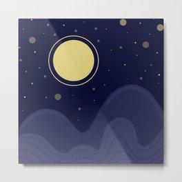 Flat night scenery // Moonlight and stars Metal Print