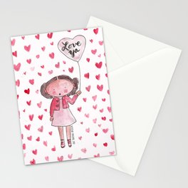 Love Ya: Watercolor with a Lot of Hearts Stationery Cards