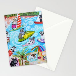 Dogs at the Beach Stationery Cards