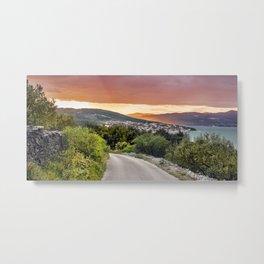 colorful sunset over the Ciovo island, Croatia Metal Print