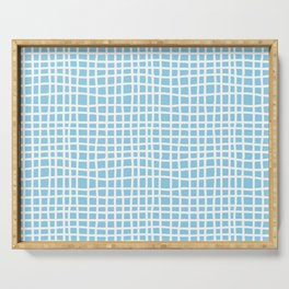 blue random cross hatch lines checker pattern Serving Tray