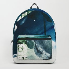Untamed: a pretty, minimal, abstract painting in blue, white and gold by Alyssa Hamilton Art  Backpack