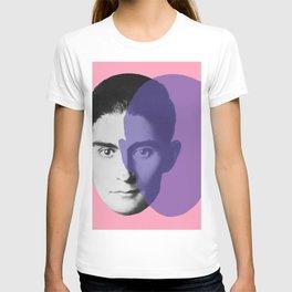 Franz Kafka - portrait pink and purple T-shirt