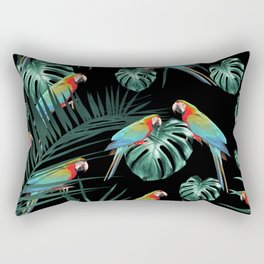 Parrots in the Tropical Jungle Night #2 #tropical #decor #art #society6 Rectangular Pillow