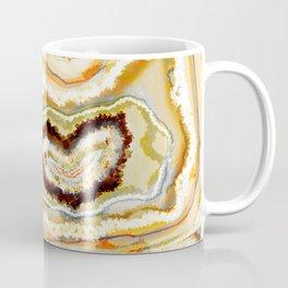Zen Agate Heart Geode Stone Teal Cream Coffee Mug