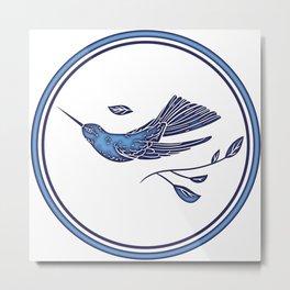 Delft Blue Humming Birds & Leaves Pattern Metal Print