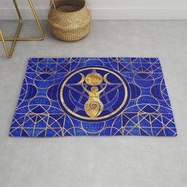 Triple Moon - Goddess -Lapis Lazuli and Gold Rug