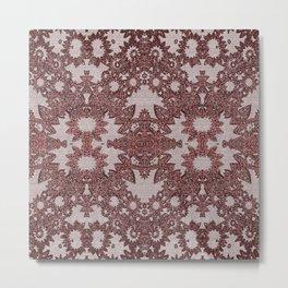Vintage Victorian Goth Deep Red Lace Mandala Metal Print