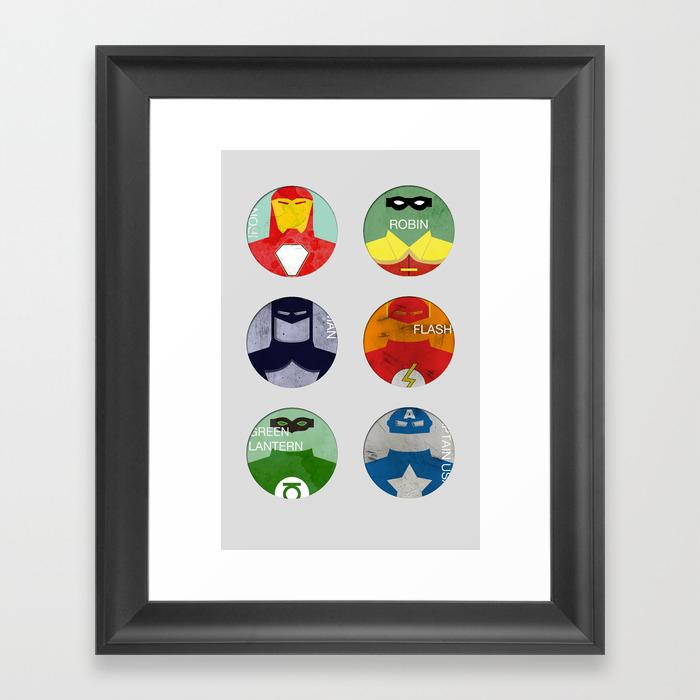 Super Heroes 6 Pack Framed Art Print by Marcomoneti FRM8021379