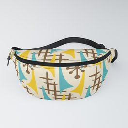 Retro Mid Century Modern Atomic Wing Pattern 424 Brown Yellow and Turquoise Fanny Pack