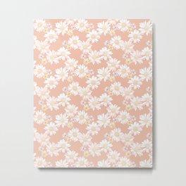 Daisies - White and Blush Pink Bloom Metal Print