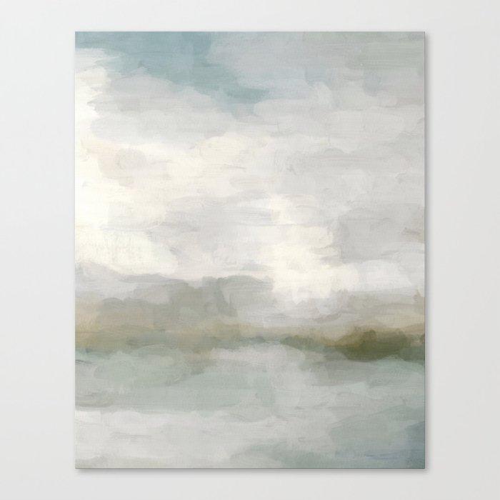Modern Abstract Painting, Light Teal, Sage Green, Gray Cloudy Weather Digital Prints Wall Art, Ocean Leinwanddruck