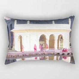 Shalimar Garden, Lahore by Yoshida Hiroshi - Japanese Vintage Ukiyo-e Woodblock Painting Rectangular Pillow