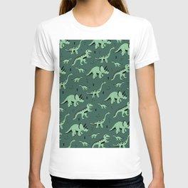 Dinosaur jungle love quirky creatures illustration T-shirt