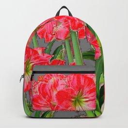 REDDISH-WHITE AMARYLLIS GARDEN CHARCOAL GREY ART Backpack