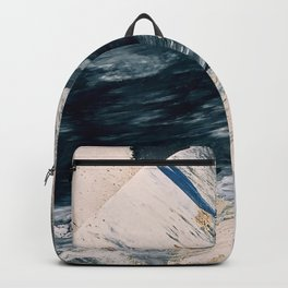 Harbor: a minimal, blue and gold abstract piece Backpack