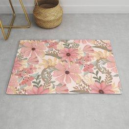 Pink Sage Green Floral Leaves Watercolor Pattern Rug