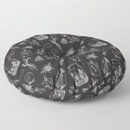 Witchy Aesthetic Pattern, Black and White, Spooky Floor Pillow