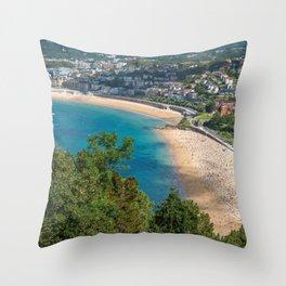 Aerial view of San Sebastian, Donostia, Spain on a beautiful summer day. Throw Pillow